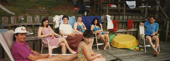 The Lacey-Bonini members of the Lacey Reunion at Frank Lacey's McKenzie TN poolside, end of May 1993.