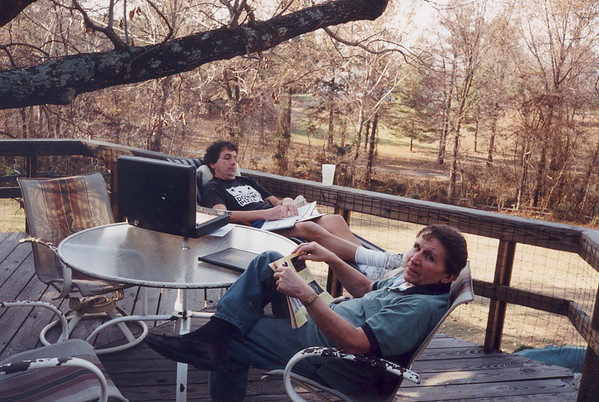 Jim Lacey, with son Frank, enjoy a spring day on the upper deck at Frank's McKenzie TN home. One of Jim's favorite places.