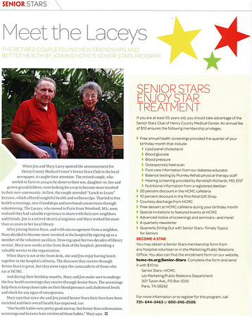 A benefit of our local hospital [Henry County Medical Center] is Senior Stars which offers frequent health seminars, health screenings and trips to area attractions.