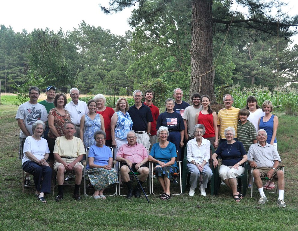 Joe Casey  Family & Friends at Kudzu Acres - property owned by Joe and Shirley Casey. April 2012 - Joe and Shirley seated in front at right.