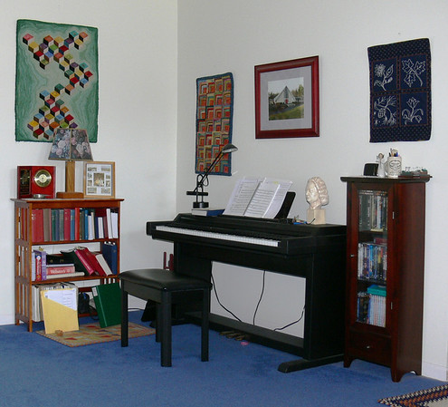 Having given up pipe organ playing (too hard), I acquired a Kurzweil Mark 5 electronic keyboard. My practice habits have improved. Mary's fiber artwork graces the walls. The photo of St. Mark's Episcopal Church, Westford MA was a gift from the Parish when we left in 2004.