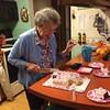 Preparing the dessert - what better than cake!