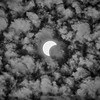 Solar Eclipse Bright Clouds B&W