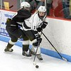 Teaghan Hall had a strong game for Longmeadow here controlling the puck in the offensive zone