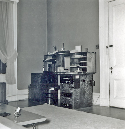 I designed and built this desk in our first, 3rd floor apartment on Beechwood Blvd, Pittsburgh PA. It served as schoolwork desk and audio control center, including turntable and amplifiers for stereo. The lumber was transported from the Beechview lumber yard to apartment on top of Mary's father's Mercury sedan!