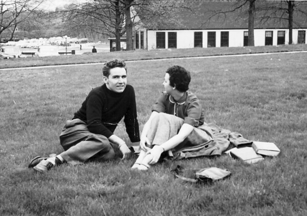 Jim Lacey and Mary Bonini meet on Carnegie Tech campus 'Cut' (large lawn between buildings) - early 1950's