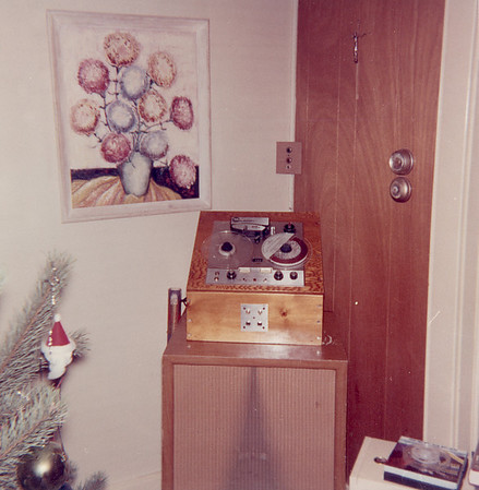 Reel-to-reel tape recorder - part of Cambridge audio system. The switch (with lamp) in corner controlled the amplifier in the basement.