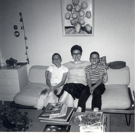 Jim IV (L), Mary and Frank Lacey in NJ Living room