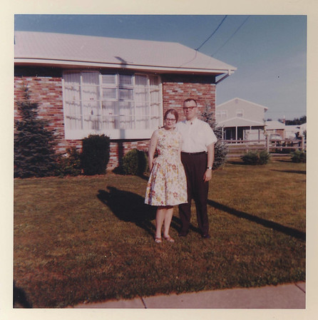 John and Sandra Shelton in front of our Cherry Hill home. John was both by boss at RCA in Cambridge OH and a good friend. We were both lay readers in the Episcopal Church.