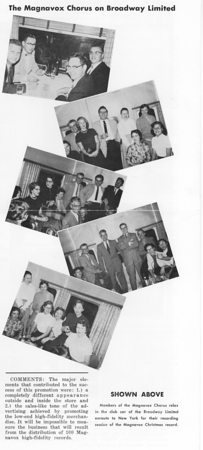 Members of the Magnavox Chorus on the Broadway Limited train to New York City and the RCA Webster Hall studios to make a Christmas music record for distribution with Magnavox audio systems. Each member of the chorus was given a portable transistor radio as a reward for our efforts.