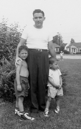 Informal photo of Jim 3, Jim 4 and Frank in August 1959 on front lawn of our 16 Willoughby Place Apartment , Ft Wayne IN.