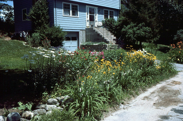 The East Front Yard Gardens at peak Summer bloom.