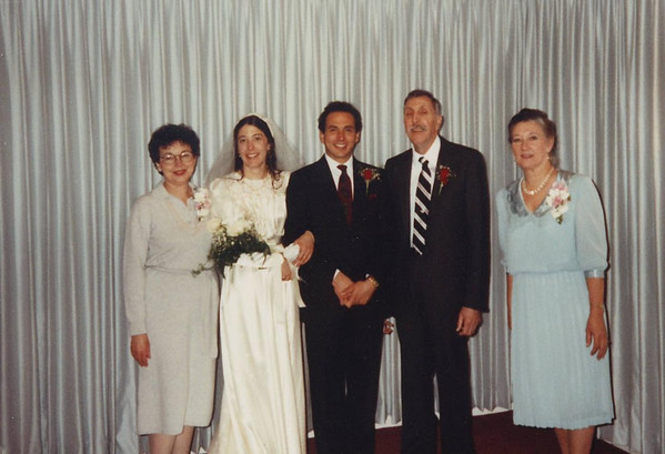 Family at the wedding of Jim and Ann Lacey, January 1990. L>R, Mary Lacey, Ann (Bishop) Lacey. Jim Lacey IV, Fred and Mrs. Bishop