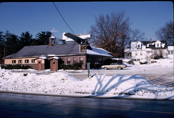 An historic artifact in Westford was Polly's Diner, with its prominent airplane. Photo circa 1968. Eventually replaced with commercial and retail development, Polly's was a well known Westford landmark.