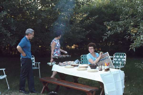 Outdoor meal at the home of (L>R) Don and Louise Netzley in Danvers MA. We have known then for about 55 years.