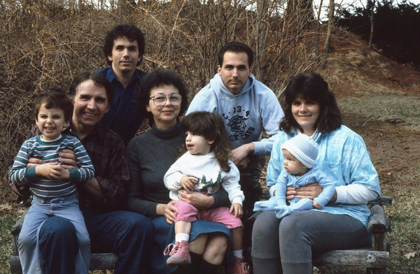 The Lacey Family in earlier years. Rear L>R, Frank Lacey, Jim Lacey IV; Middle L>R, Jim Lacey III, Mary Lacey, Donna Harvey-Lacey; Front L>R Rory, Ryan and Randy Lacey. Frank and Family lived in McKenzie TN; Jim IV lived in Groveland MA.