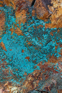 Rock with Copper Ore, Malachite and Azurite Deposits
