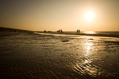 A sunset shot taken on a beach during the Golden Hour near Amsterdam in the Netherlands.