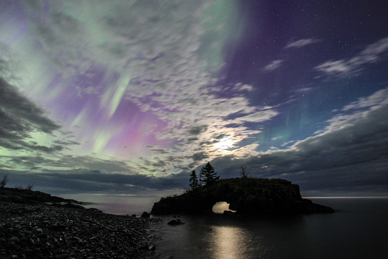 "AURORA 3821  ""Hollow Rock Dreamscape""  Northern Lights on June 1, 2013"