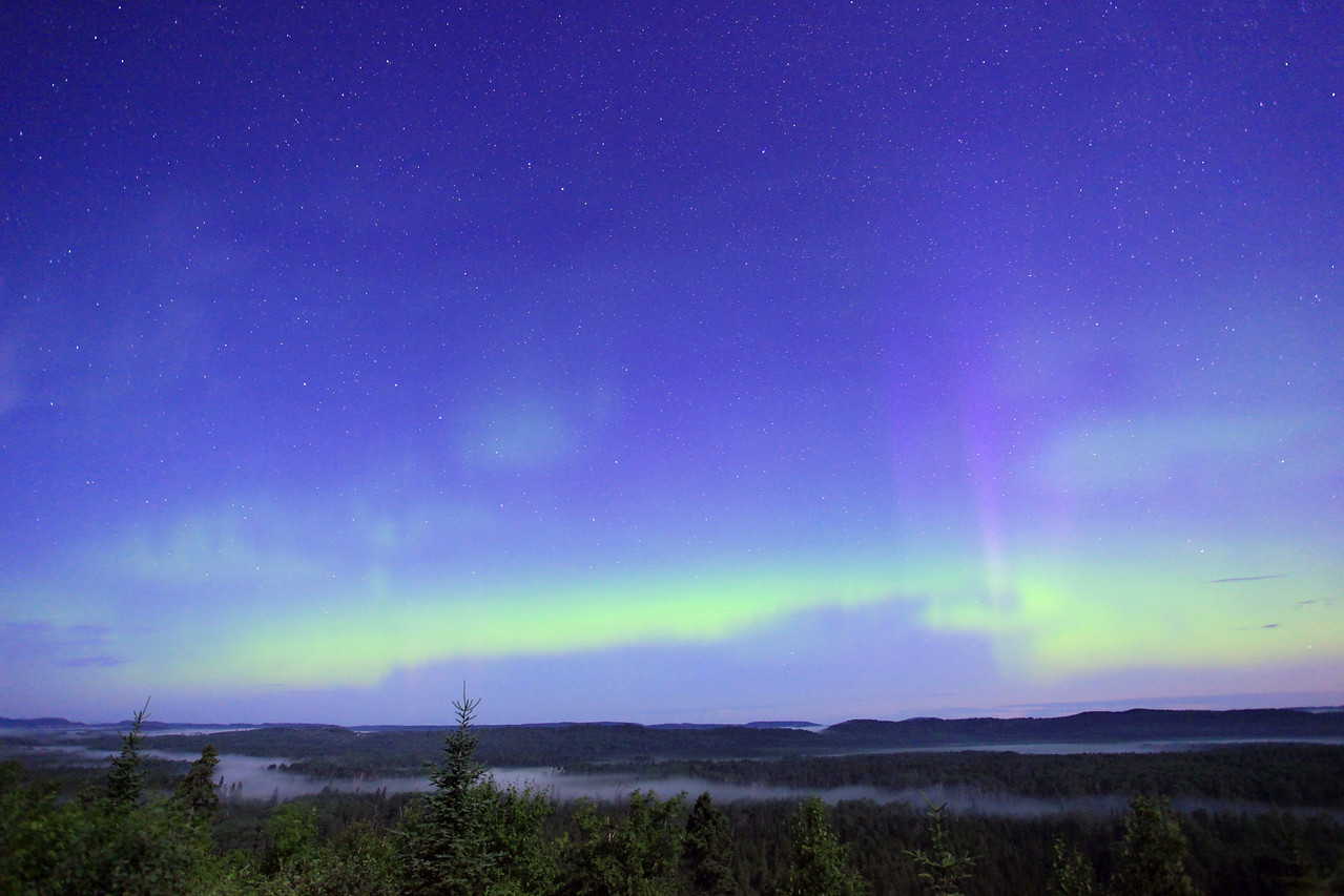 "AURORA 1232  ""Ribbon of Aurora over the Pigeon River Valley""  Northern Lights on July 9, 2012"