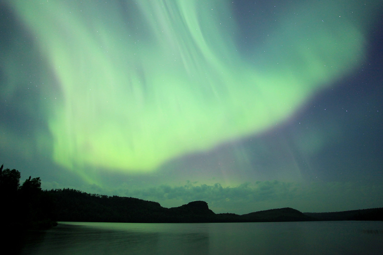 "AURORA 2473<br /> <br /> ""Aurora Storm over McFarland Lake""<br /> <br /> Northern Lights on July 15, 2012"