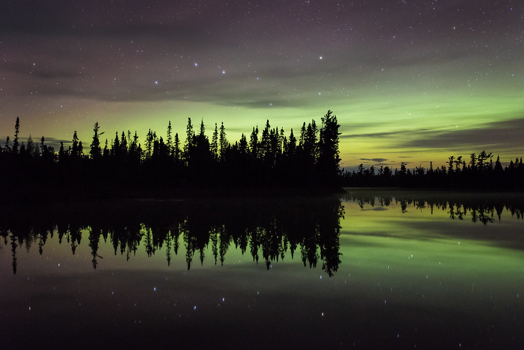 "AURORA 9752<br /> <br /> ""Fading Aurora Storm""<br /> <br /> Grand Portage State Forest, MN - September 8, 2015"