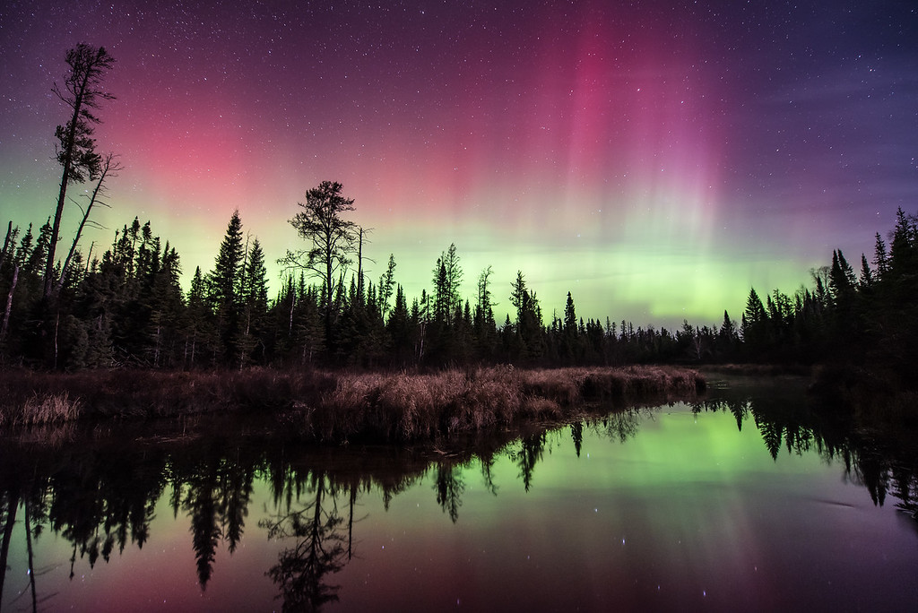 "AURORA 4170<br /> <br /> ""November Night in the Superior National Forest""<br /> <br /> Northern Lights over Hog Creek on November 3, 2015 - Superior National Forest, MN"
