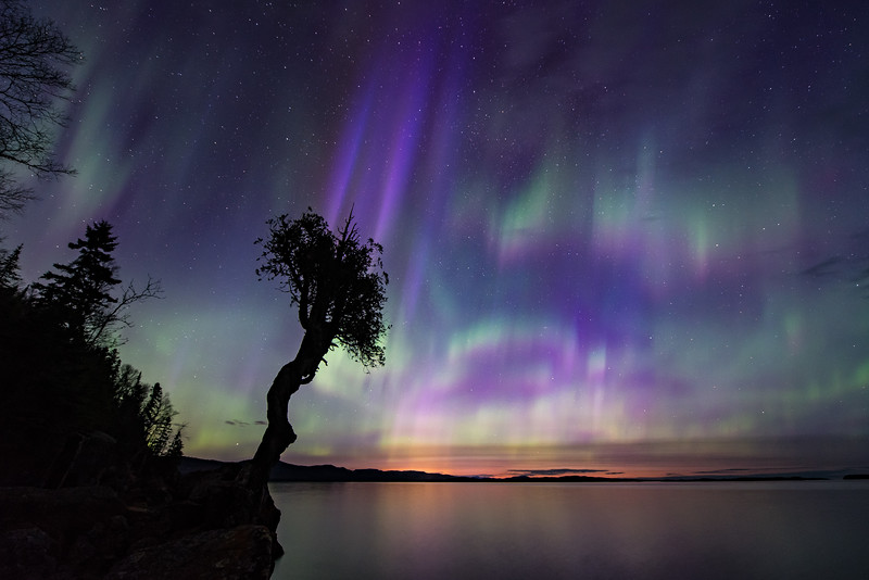 """AURORA 7849<br /> <br /> """"Aurora Withdrawals""""<br /> <br /> January 24, 2017 - Boy, I sure am going through some serious aurora withdrawals!  It seems like forever since we've had any decent aurora activity that coincided with clear skies.  Lately our weather has just been crappy.  Sure, it's warm but for January we should have colder temperatures and snow falling, not rain.  <br /> <br /> The first part of January was awesome. We had plenty of snow and some darn near perfect ski days.  But lately the sky has been gray and filled with clouds for what seems a really long time. The warm temps (it's almost 40 degrees today) and rain/drizzle have really diminished the quality of our snow base. Because of the poor conditions and lack of any kind of good light I haven't been making many new photos this month. <br /> <br /> So, I've been going back and looking at older images that I haven't processed yet.  Last night I came across this one from May 8, 2016.  The photo was made at 3:38 in the morning and was nearing the end of a night filled with some pretty amazing northern lights.  I can't wait for another night like this!"""