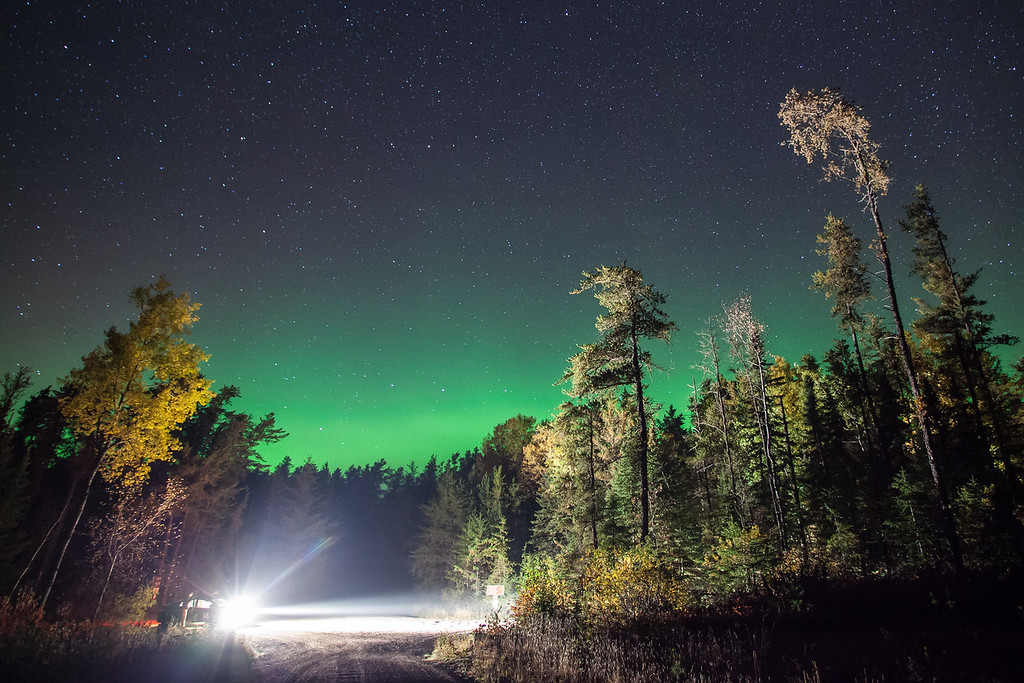 "AURORA 9913<br /> <br /> ""Aurora over the intersection of The Grade and Bally Creek Road - Cook County, MN""<br /> <br /> September 27, 2014"