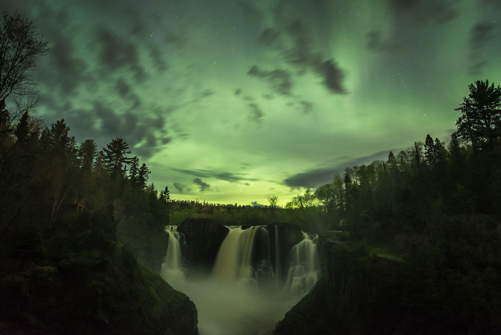 """AURORA 2812<br /> <br /> """"Northern Lights and High Falls""""<br /> <br /> Grand Portage State Park, MN - May 27, 2017"""