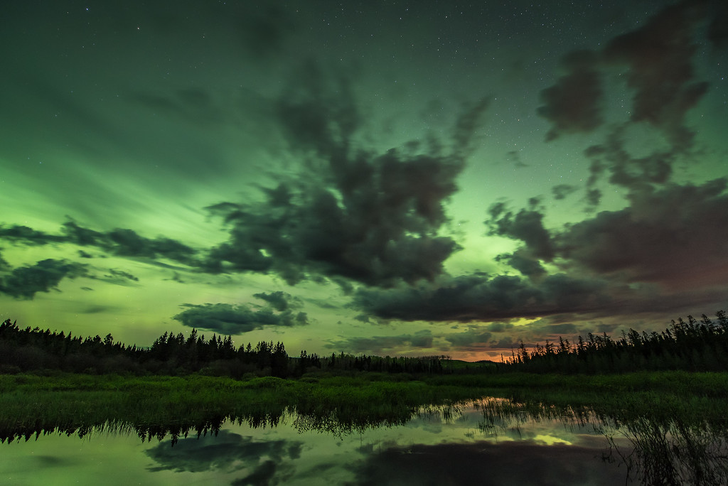 """AURORA 2817<br /> <br /> """"Green Glow""""<br /> <br /> Northern Lights on May 28, 2017"""