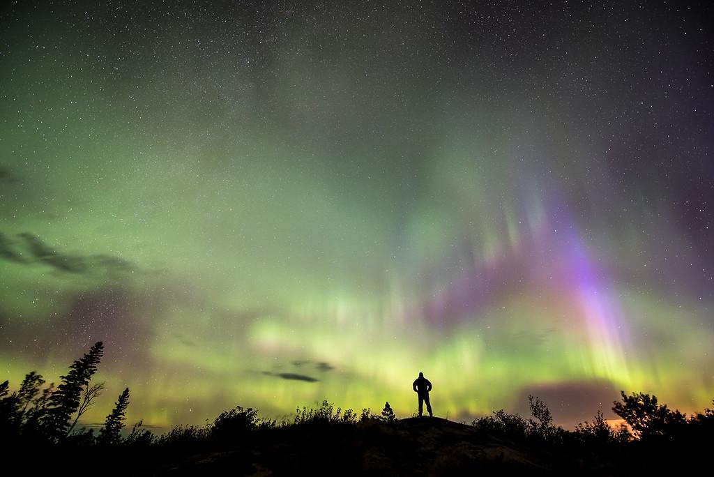 "AURORA 0546<br /> <br /> ""Admiring the Aurora Borealis""<br /> <br /> Northern Lights on September 20, 2015"