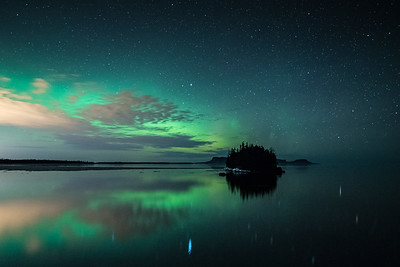 "AURORA 2262  ""Northern Lights over Sturgeon and Pie Islands""  Ontario, Canada"