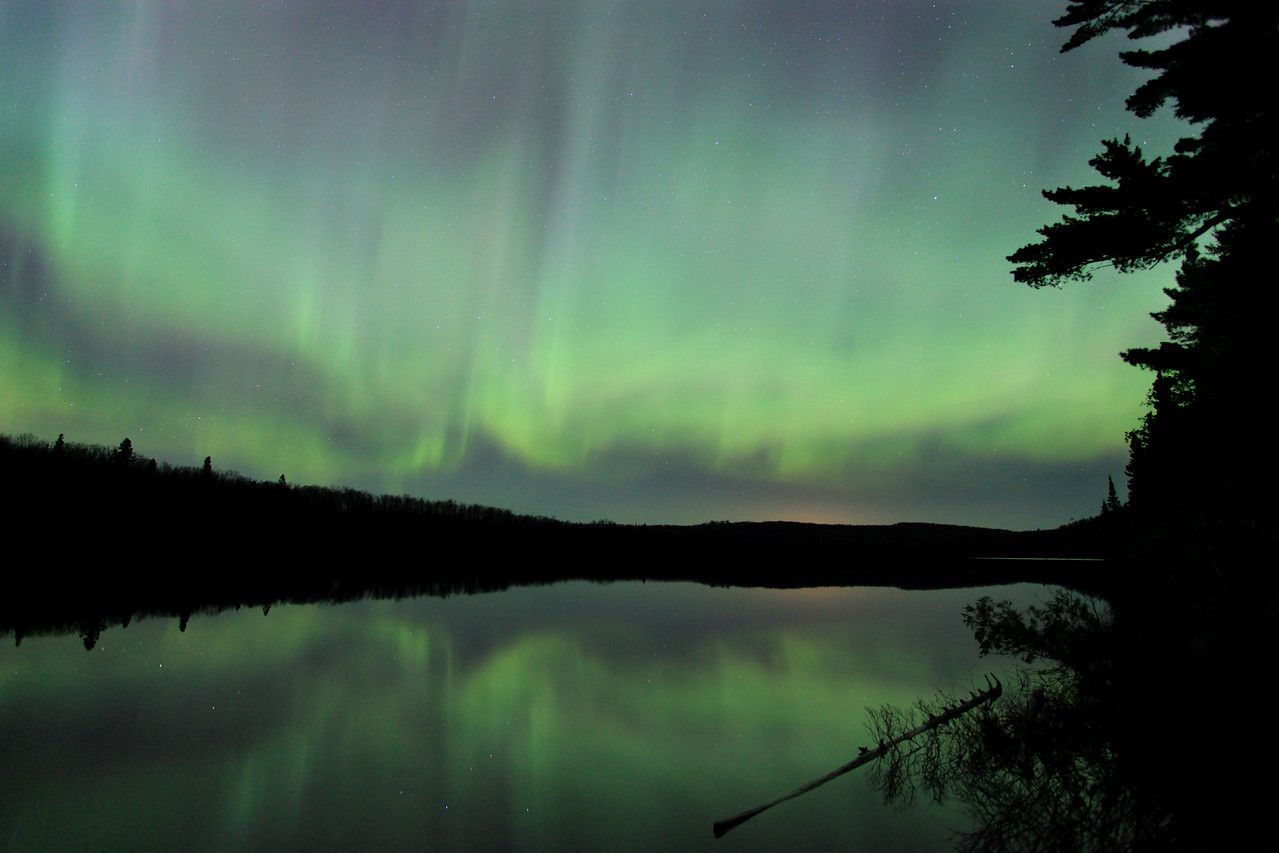 "AURORA 6865<br /> <br /> ""Solar Tsunami over Speckled Trout Lake""<br /> <br /> Northern Lights on April 24, 2012"