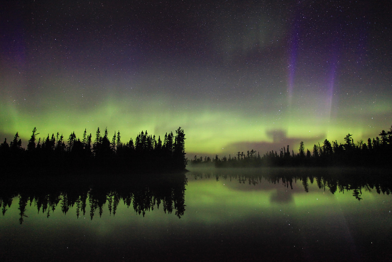 "AURORA 4102  ""The Elephant""  Northern Lights on June 7, 2013 over Devilfish Lake in northeast Minnesota."