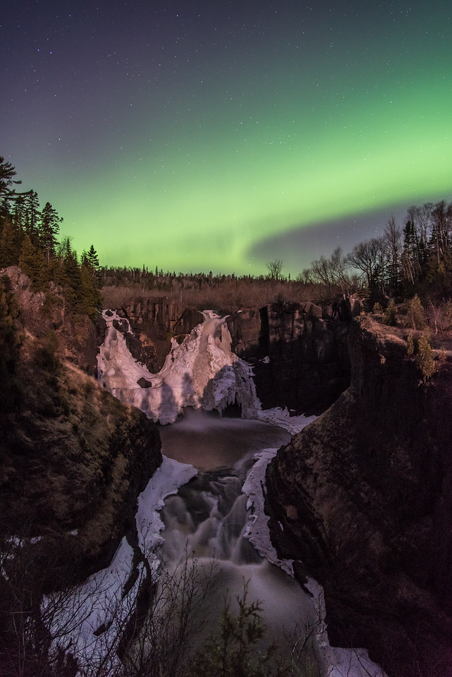 "AURORA 3573<br /> <br /> ""Lights over High Falls""<br /> <br /> April 11, 2015 - Northern Lights over High Falls of the Pigeon River in Grand Portage State Park, MN."