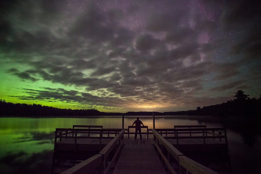 "AURORA 9346<br /> <br /> ""Front row seat for the aurora show""<br /> <br /> Lake Vermilion State Park, MN - August 28, 2014"