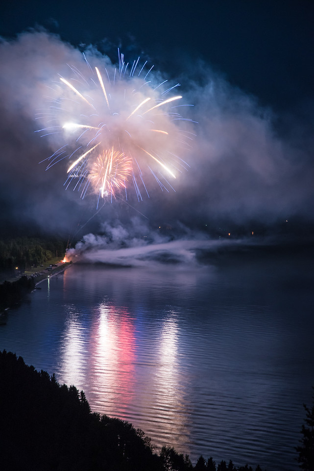 "FIREWORKS 6884<br /> <br /> ""Fireworks over Grand Portage Bay""<br /> <br /> 4th of July 2015 in Grand Portage, MN"