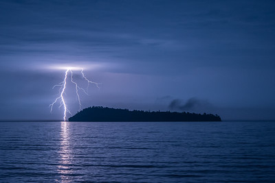 "LIGHTNING 9473  ""September Storm over Pete's Island""  Grand Portage, MN"