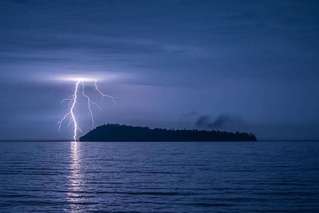 """LIGHTNING 9473<br /> <br /> """"September Storm over Pete's Island""""<br /> <br /> Grand Portage, MN"""