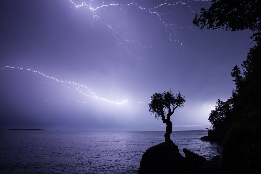 """LIGHTNING 9263<br /> <br /> """"Late Summer Storm over Wauswaugoning Bay"""""""