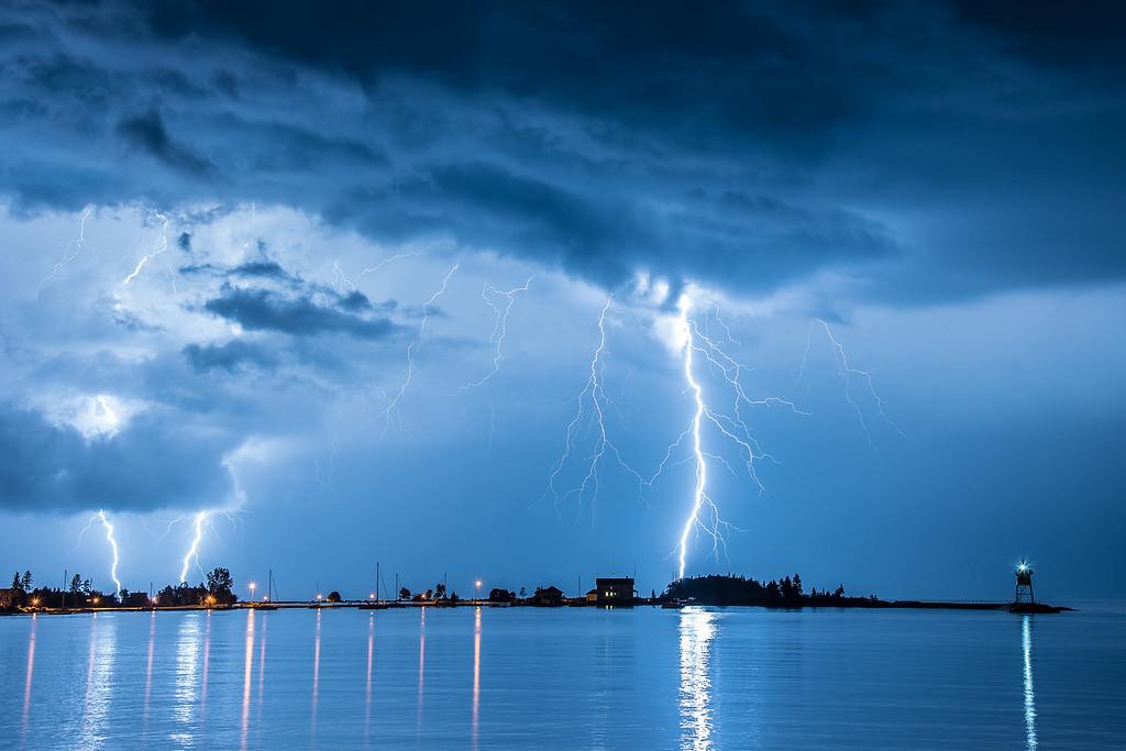 "LIGHTNING 9050<br /> <br /> ""August Thunderstorm, Grand Marais Harbor""<br /> <br /> Grand Marais, MN"