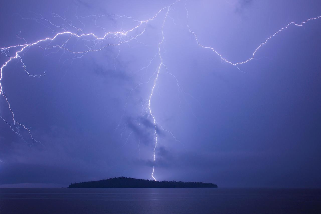 """LIGHTNING 2562<br /> <br /> """"Trifecta""""<br /> <br /> Lightning over Pete's Island on Grand Portage Bay - June 18, 2009"""