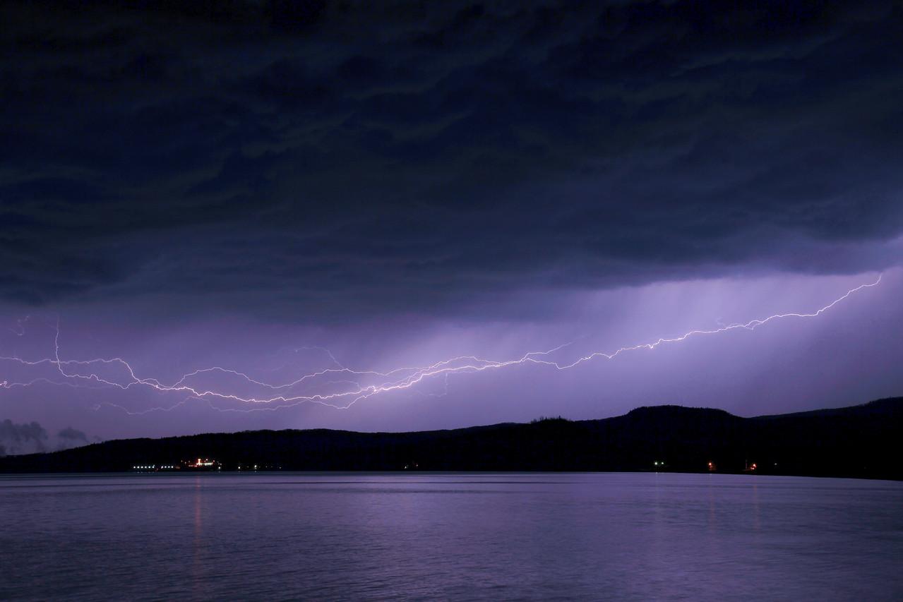 "LIGHTNING 1317<br /> <br /> ""Grand Portage Ridge Lightning""<br /> <br /> Spring lightning over Grand Portage Bay - May 7, 2009"