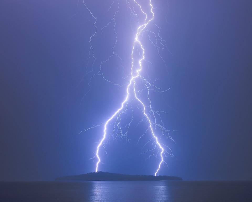 "LIGHTNING 2654<br /> <br /> ""The Destroyer""<br /> <br /> Lightning over Pete's Island in Grand Portage Bay on Lake Superior"