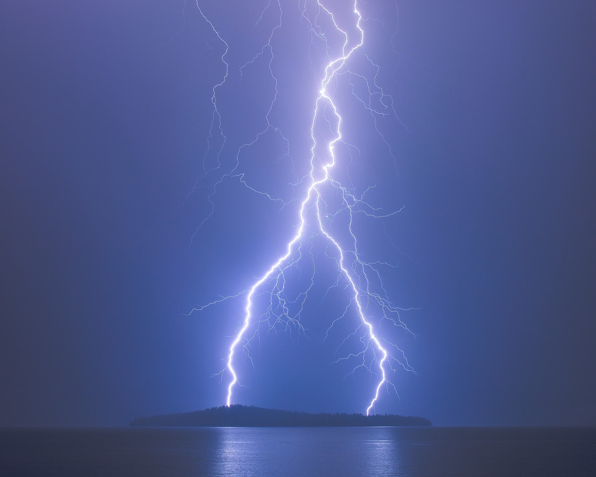 "LIGHTNING 2654<br /> <br /> ""The Destroyer""<br /> <br /> Lightning over Pete's Island in Grand Portage Bay on Lake Superior"