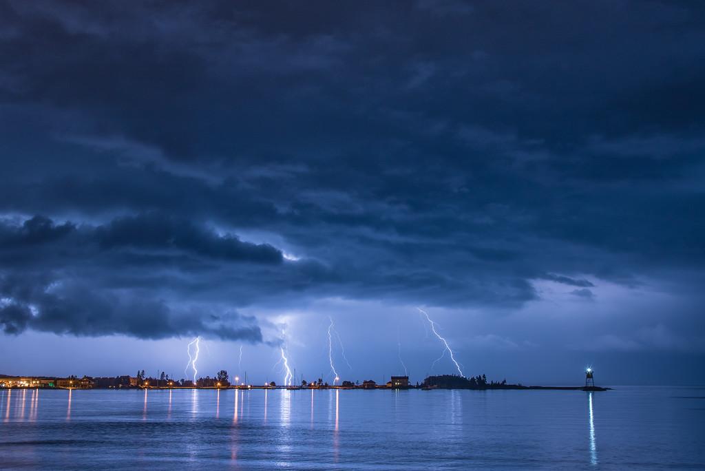 """LIGHTNING 9056<br /> <br /> """"Harbor Storm""""<br /> <br /> Grand Marais, MN"""