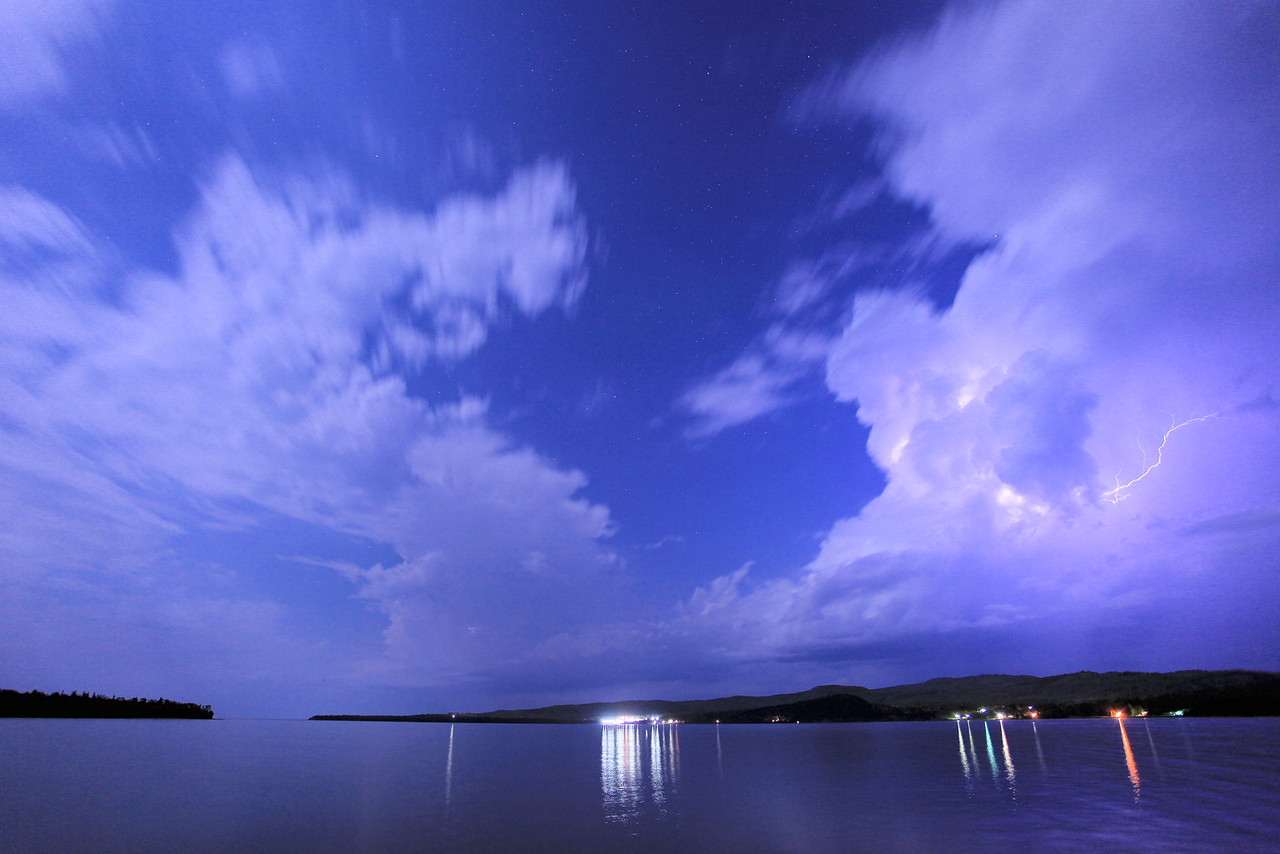 """LIGHTNING 3396<br /> <br /> """"September Storm over Grand Portage Bay"""""""