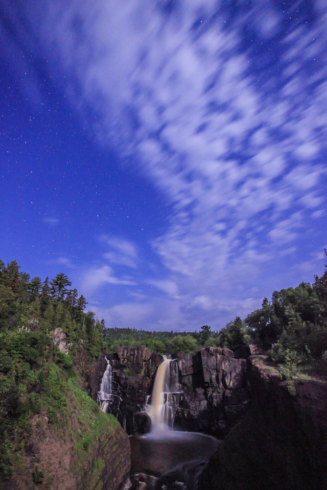 "MOONLIGHT 0798<br /> <br /> ""Summer Moonlight on High Falls""<br /> <br /> Grand Portage State Park, MN"