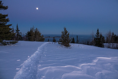 """Snowshoe Trail and Moon - Mt. Josephine"""